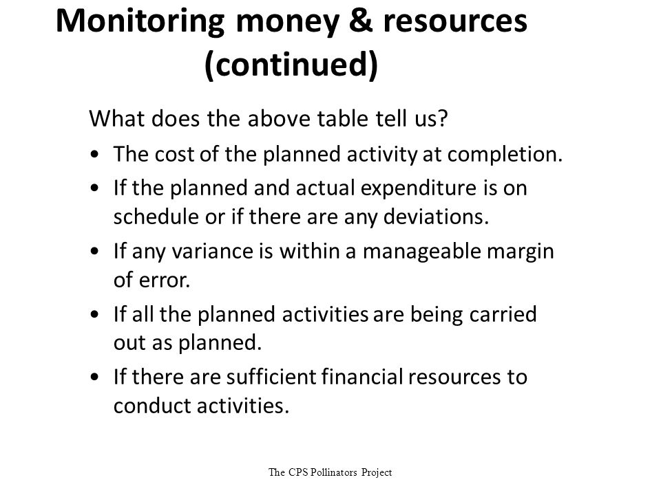 The CPS Pollinators Project Monitoring money & resources (continued) What does the above table tell us? The cost of the planned activity at completion
