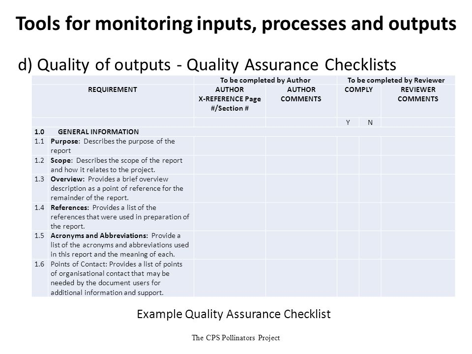 The CPS Pollinators Project Tools for monitoring inputs, processes and outputs d) Quality of outputs - Quality Assurance Checklists Example Quality As