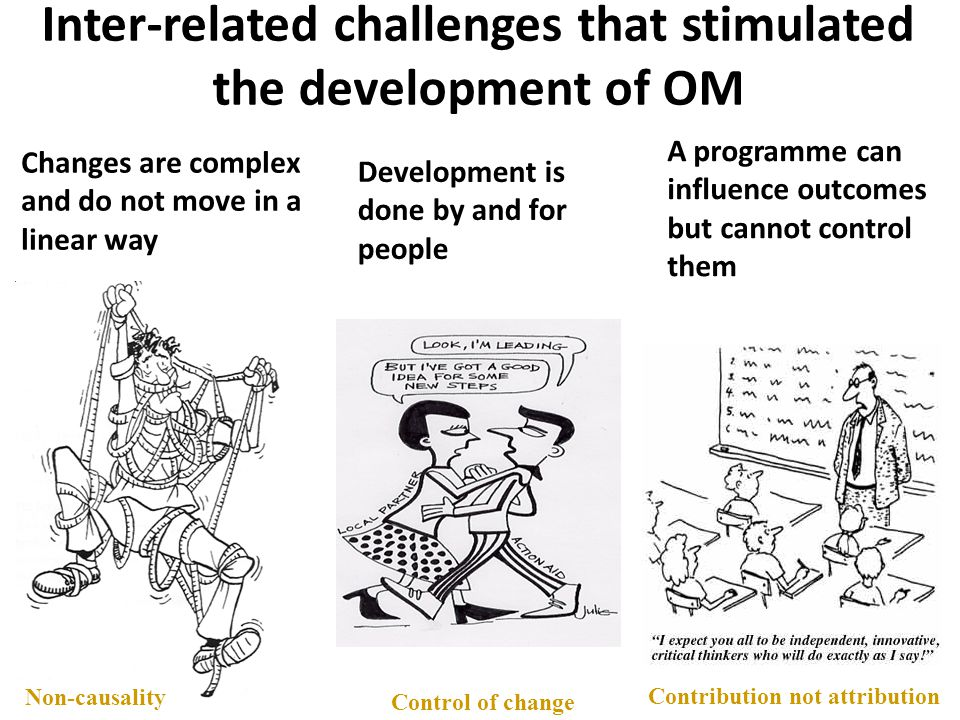 Inter-related challenges that stimulated the development of OM Changes are complex and do not move in a linear way Development is done by and for peop