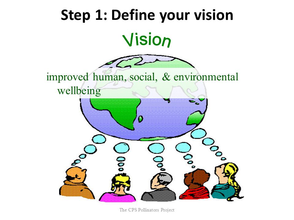 The CPS Pollinators Project Step 1: Define your vision improved human, social, & environmental wellbeing