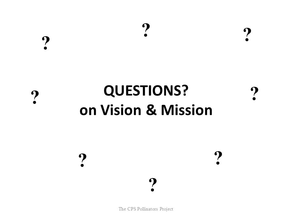 The CPS Pollinators Project QUESTIONS? on Vision & Mission ? ? ? ? ? ? ? ?