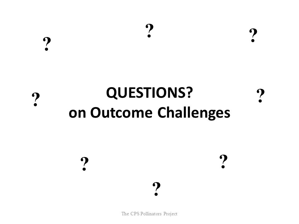 The CPS Pollinators Project QUESTIONS? on Outcome Challenges ? ? ? ? ? ? ? ?