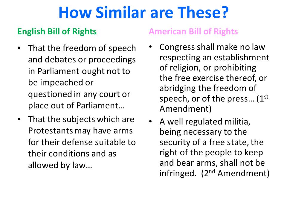 How Similar are These? English Bill of Rights That the freedom of speech and debates or proceedings in Parliament ought not to be impeached or questio