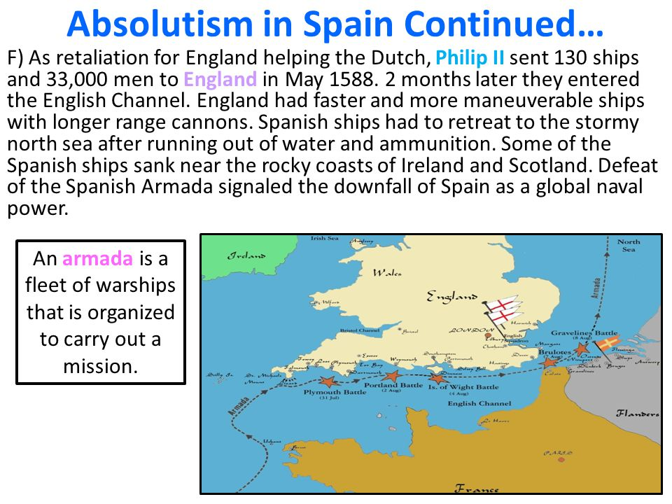 Absolutism in Spain Continued… F) As retaliation for England helping the Dutch, Philip II sent 130 ships and 33,000 men to England in May 1588. 2 mont