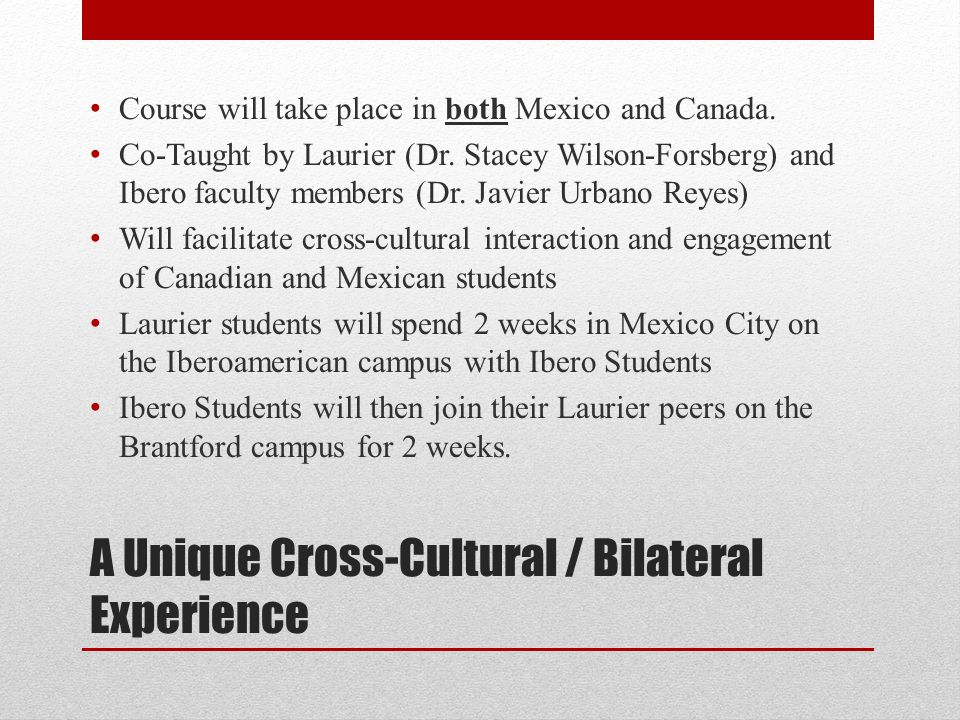 A Unique Cross-Cultural / Bilateral Experience Course will take place in both Mexico and Canada.