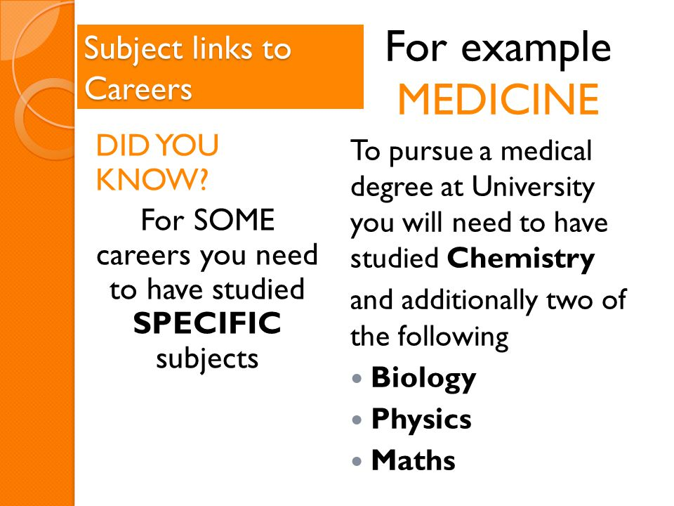 Subject links to Careers DID YOU KNOW.