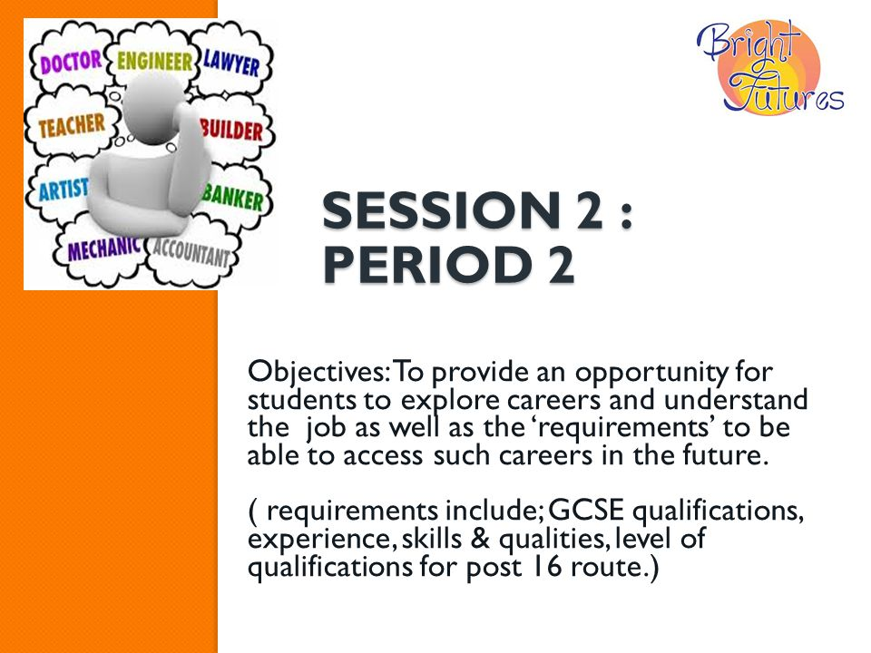SESSION 2 : PERIOD 2 Objectives: To provide an opportunity for students to explore careers and understand the job as well as the 'requirements' to be able to access such careers in the future.