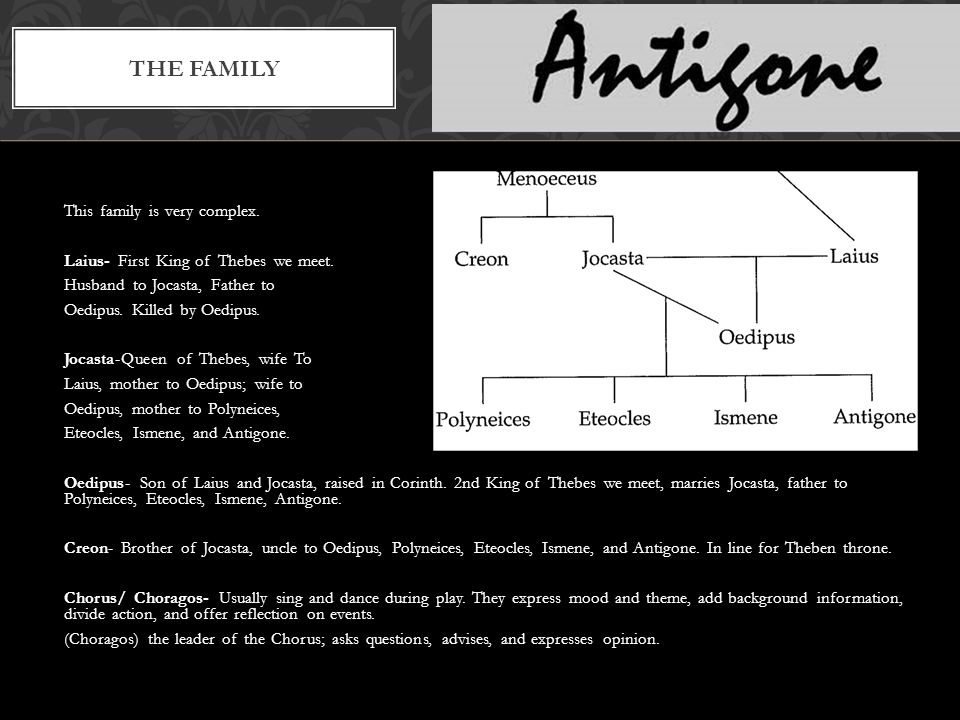 This family is very complex. Laius- First King of Thebes we meet.