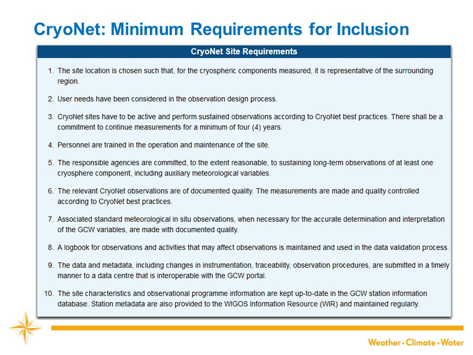 CryoNet: Minimum Requirements for Inclusion