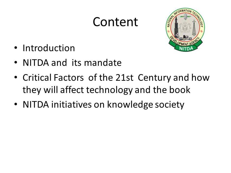 Introduction For the purpose of this presentation, the book is defined not just in the narrow sense of the printed word, wherever it may be, but also in the very broad sense of a knowledge society Both concepts are actually not different in essence but only in form Technology is the catalyst for the change Therefore what might be the effect of technology on the book .