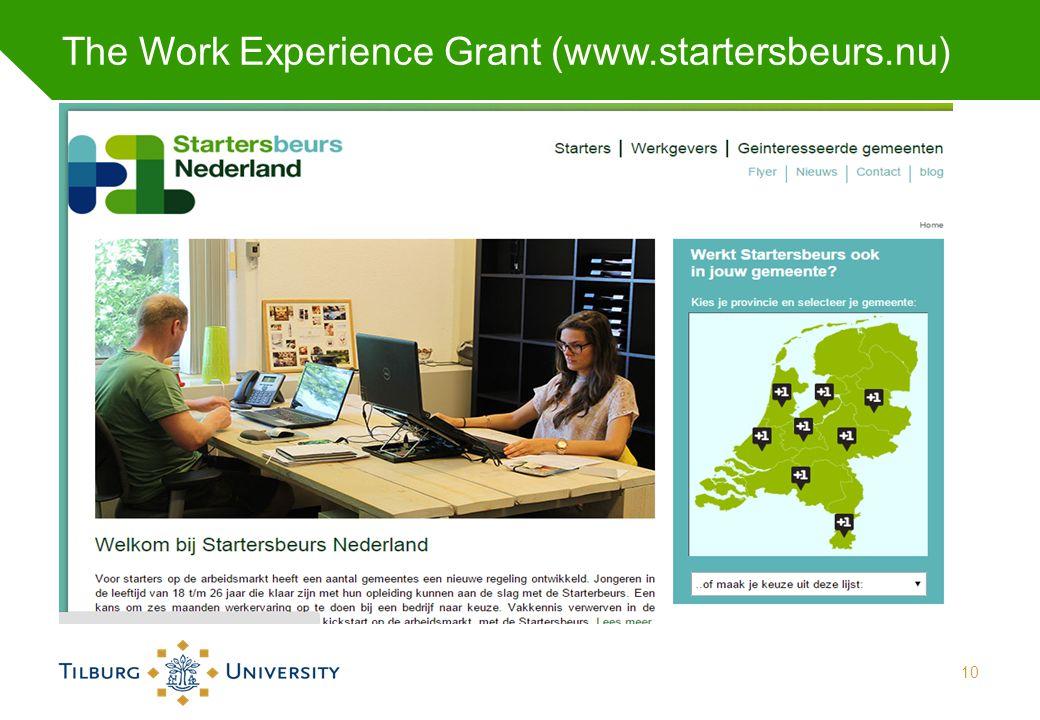 The Work Experience Grant (www.startersbeurs.nu) 10