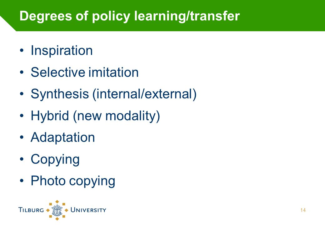 Degrees of policy learning/transfer Inspiration Selective imitation Synthesis (internal/external) Hybrid (new modality) Adaptation Copying Photo copyi