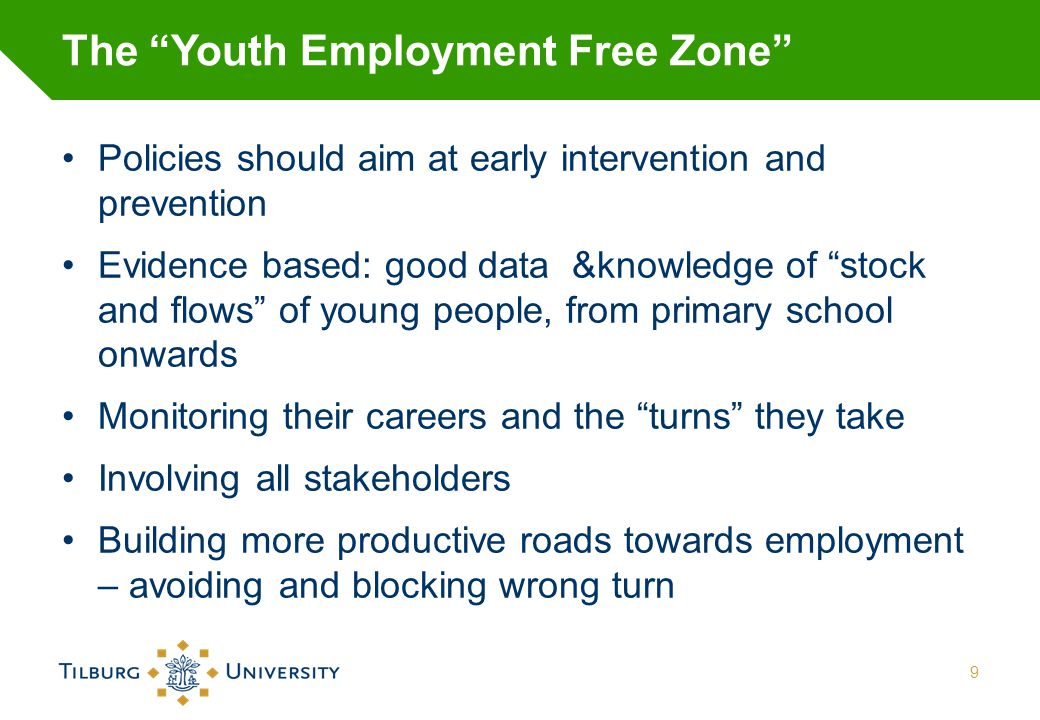 """The """"Youth Employment Free Zone"""" Policies should aim at early intervention and prevention Evidence based: good data &knowledge of """"stock and flows"""" of"""