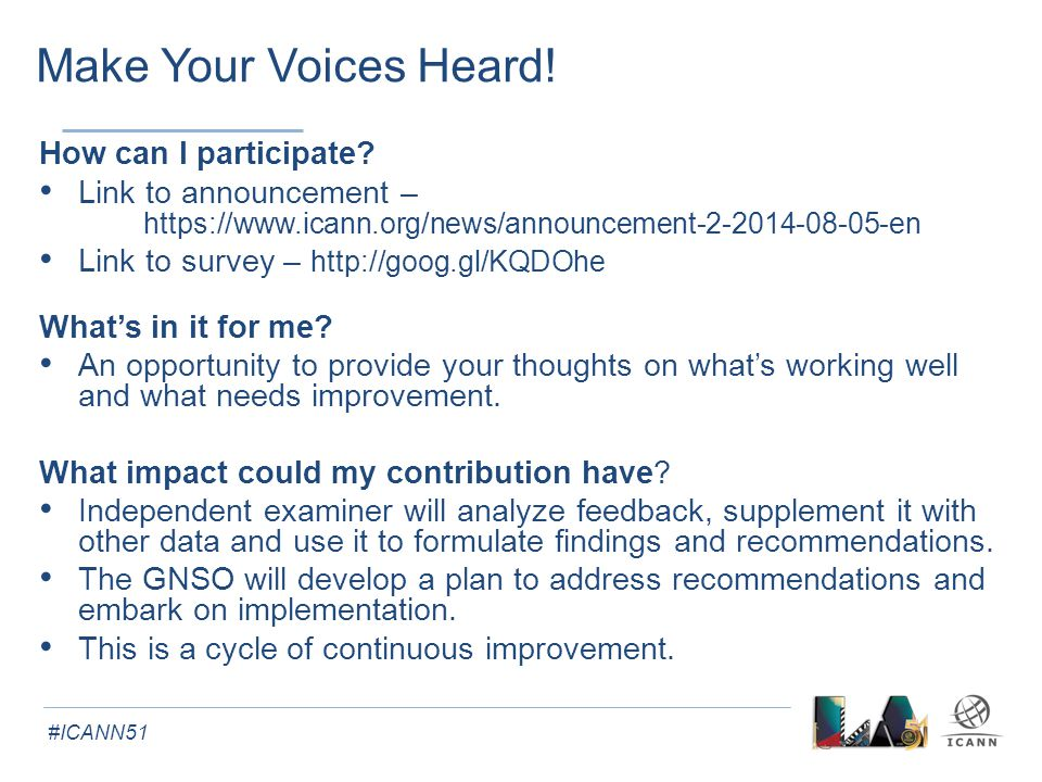 #ICANN51 Make Your Voices Heard. How can I participate.