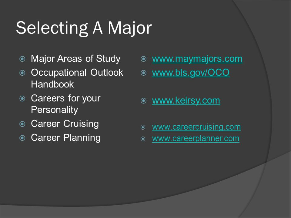 Selecting A Major  Major Areas of Study  Occupational Outlook Handbook  Careers for your Personality  Career Cruising  Career Planning  www.maym