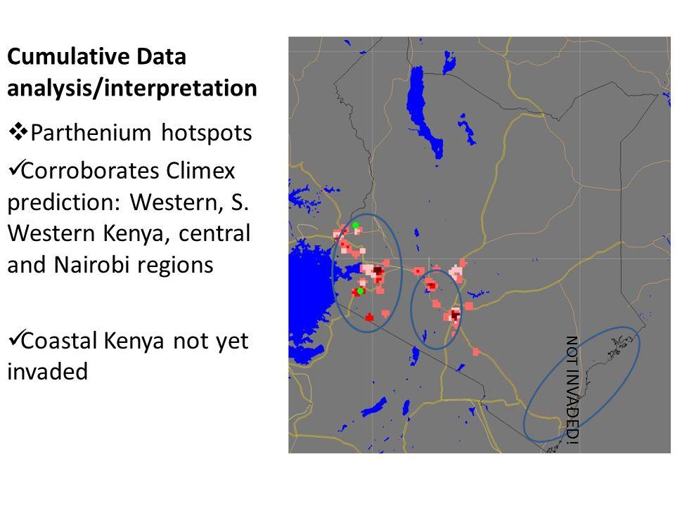 Cumulative Data analysis/interpretation  Parthenium hotspots Corroborates Climex prediction: Western, S. Western Kenya, central and Nairobi regions C