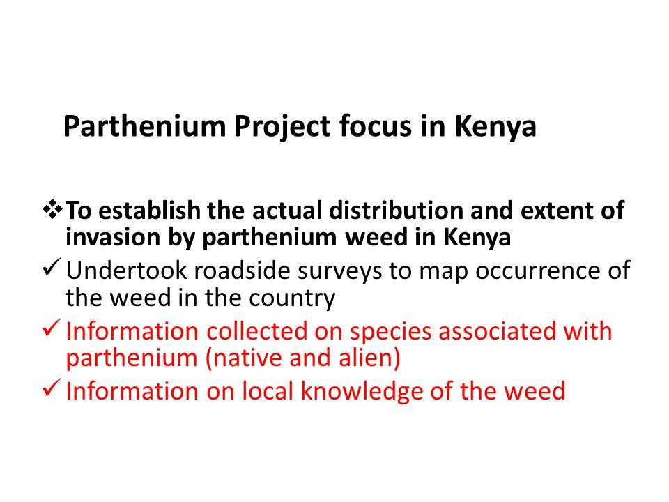 Parthenium Project focus in Kenya  To establish the actual distribution and extent of invasion by parthenium weed in Kenya Undertook roadside surveys