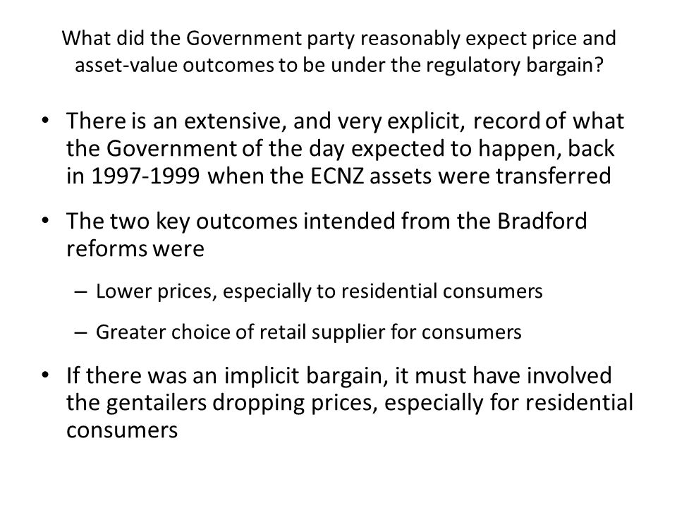 What did the Government party reasonably expect price and asset-value outcomes to be under the regulatory bargain.