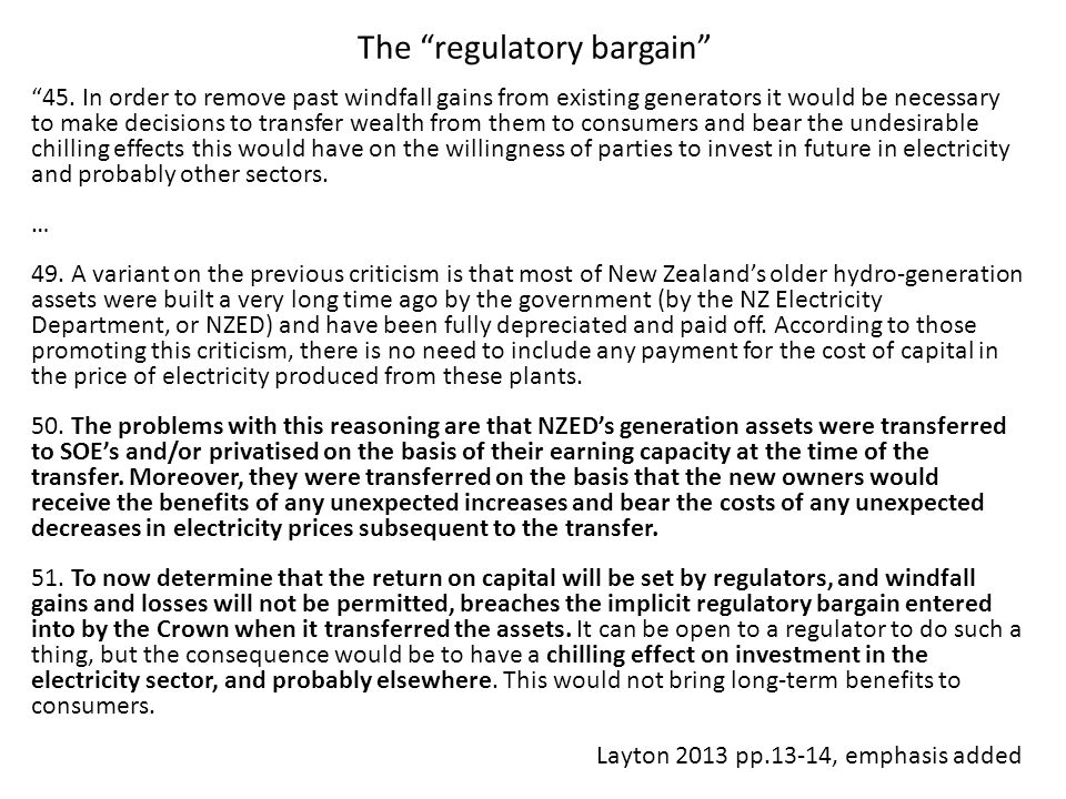 The regulatory bargain 45.