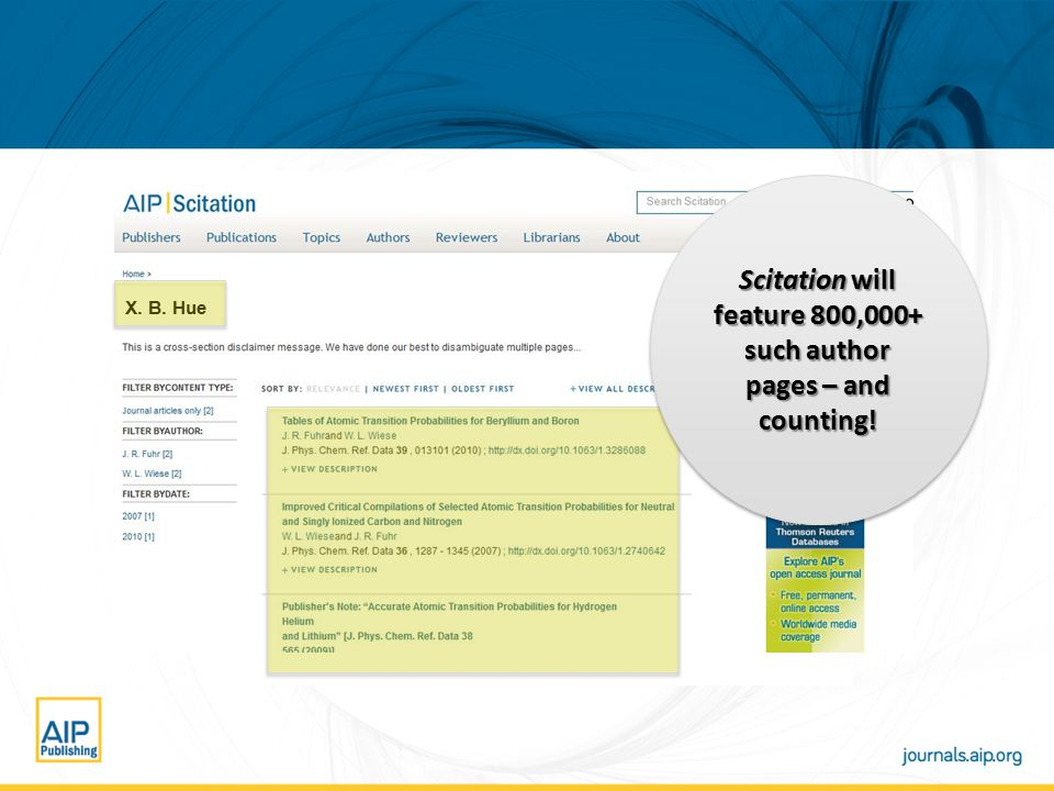 X. B. Hue Scitation will feature 800,000+ such author pages – and counting!