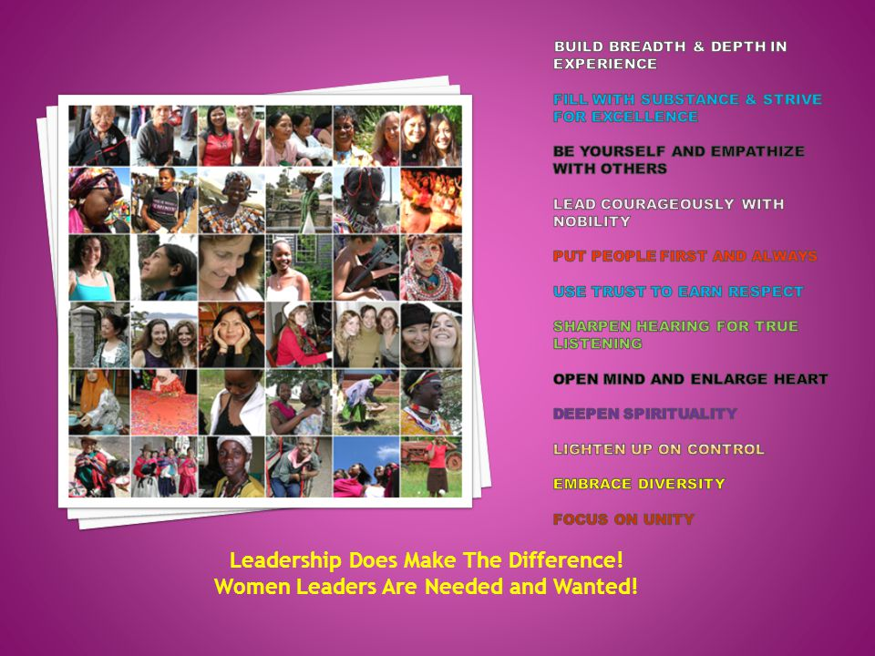 Leadership Does Make The Difference! Women Leaders Are Needed and Wanted!