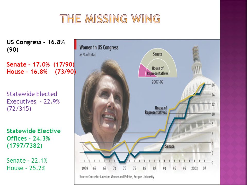 US Congress – 16.8% (90) Senate – 17.0% (17/90) House – 16.8% (73/90) Statewide Elected Executives - 22.9% (72/315) Statewide Elective Offices – 24.3% (1797/7382) Senate – 22.1% House – 25.2%