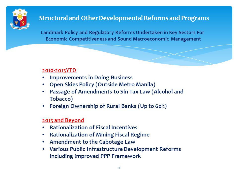 Structural and Other Developmental Reforms and Programs 2010-2013YTD Improvements in Doing Business Open Skies Policy (Outside Metro Manila) Passage of Amendments to Sin Tax Law (Alcohol and Tobacco) Foreign Ownership of Rural Banks (Up to 60%) 2013 and Beyond Rationalization of Fiscal Incentives Rationalization of Mining Fiscal Regime Amendment to the Cabotage Law Various Public Infrastructure Development Reforms Including Improved PPP Framework Landmark Policy and Regulatory Reforms Undertaken in Key Sectors For Economic Competitiveness and Sound Macroeconomic Management 18