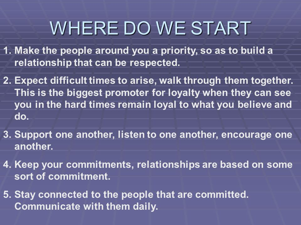 WHERE DO WE START 1.Make the people around you a priority, so as to build a relationship that can be respected.