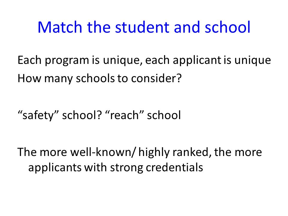 Match the student and school Each program is unique, each applicant is unique How many schools to consider.
