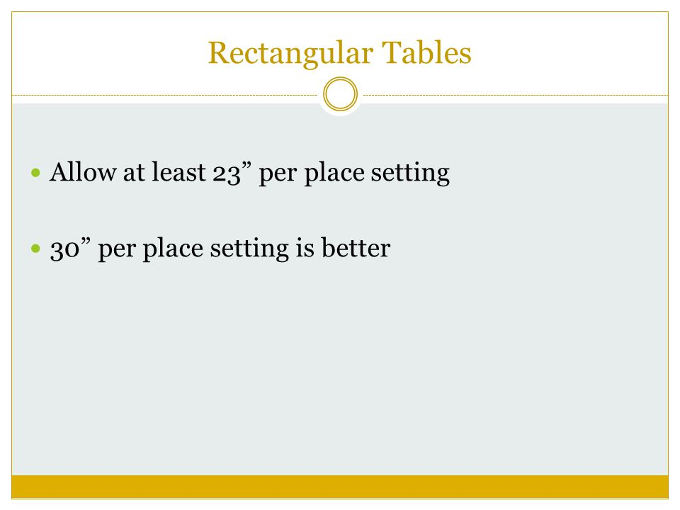 Rectangular Tables Allow at least 23 per place setting 30 per place setting is better