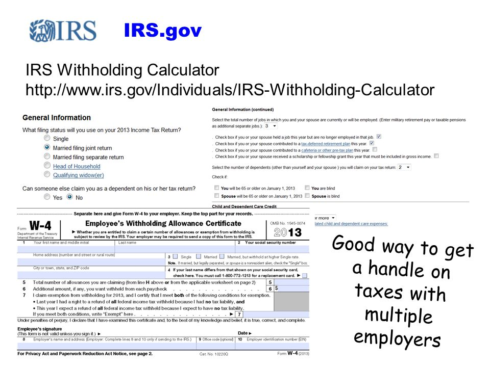 IRS.gov IRS Withholding Calculator http://www.irs.gov/Individuals/IRS-Withholding-Calculator Good way to get a handle on taxes with multiple employers