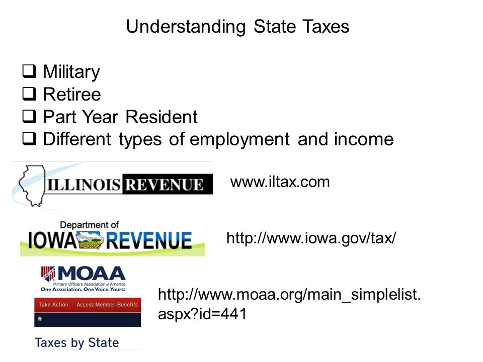 Understanding State Taxes  Military  Retiree  Part Year Resident  Different types of employment and income www.iltax.com http://www.iowa.gov/tax/ http://www.moaa.org/main_simplelist.
