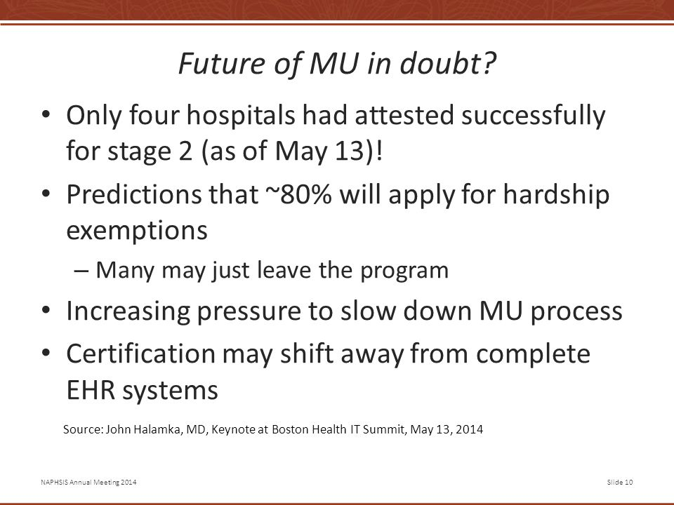 NAPHSIS Annual Meeting 2014Slide 10 Future of MU in doubt.