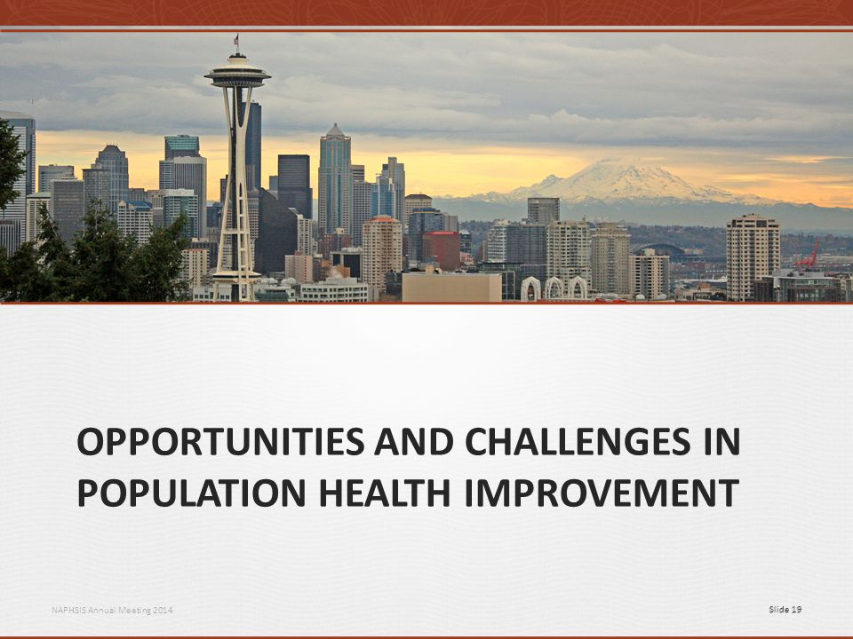 NAPHSIS Annual Meeting 2014Slide 19 OPPORTUNITIES AND CHALLENGES IN POPULATION HEALTH IMPROVEMENT Slide 19