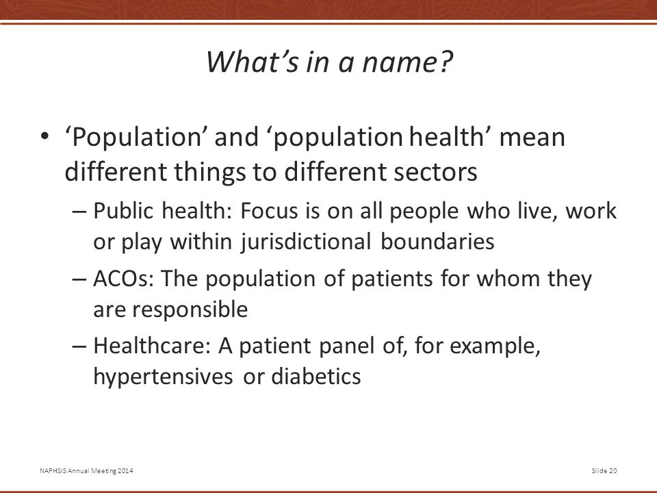 NAPHSIS Annual Meeting 2014Slide 20 What's in a name.