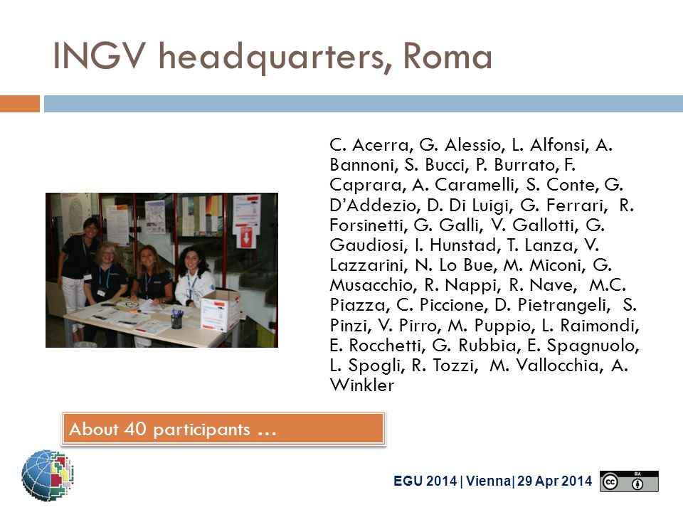 EGU 2014 | Vienna| 29 Apr 2014 INGV headquarters, Roma C.