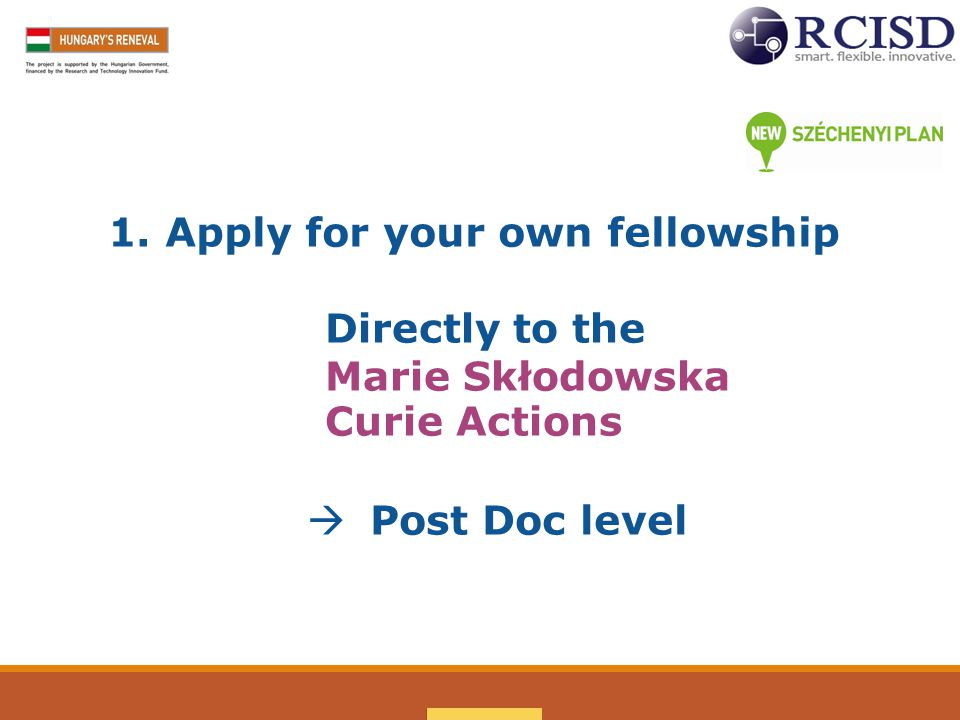 1. Apply for your own fellowship Directly to the Marie Skłodowska Curie Actions  Post Doc level