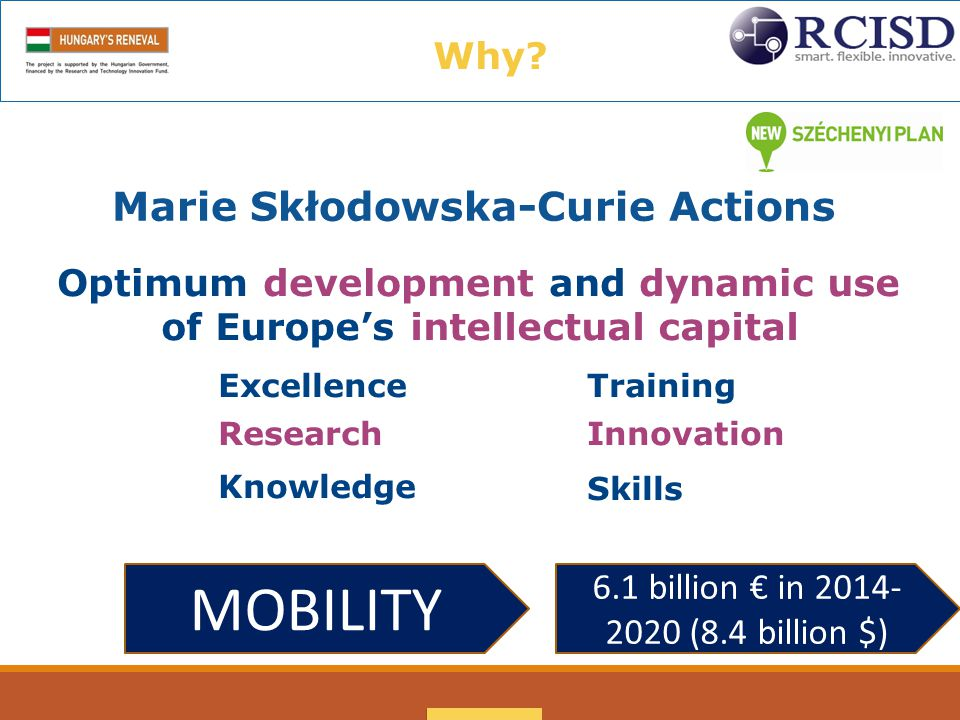 Marie Skłodowska-Curie Actions Optimum development and dynamicuse ofEurope's intellectual capital Excellence Research Knowledge Training Innovation Skills Mobility Why.