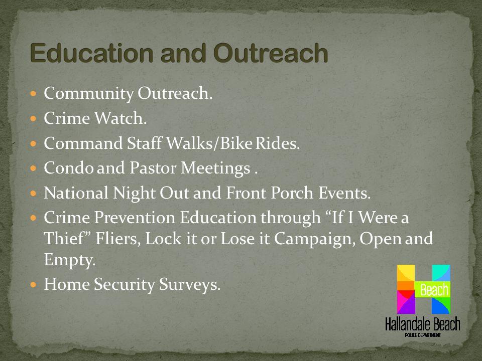 Community Outreach. Crime Watch. Command Staff Walks/Bike Rides.