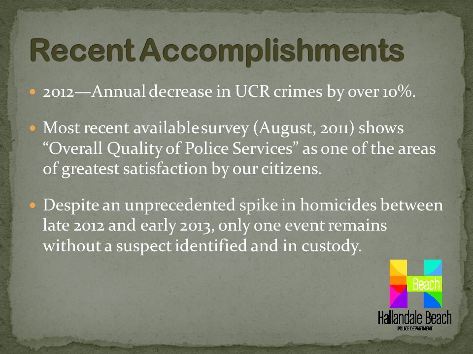 2012—Annual decrease in UCR crimes by over 10%.
