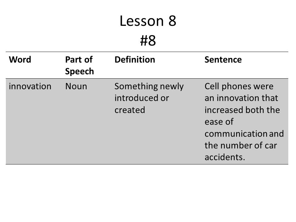 Lesson 8 #8 WordPart of Speech DefinitionSentence innovationNounSomething newly introduced or created Cell phones were an innovation that increased both the ease of communication and the number of car accidents.