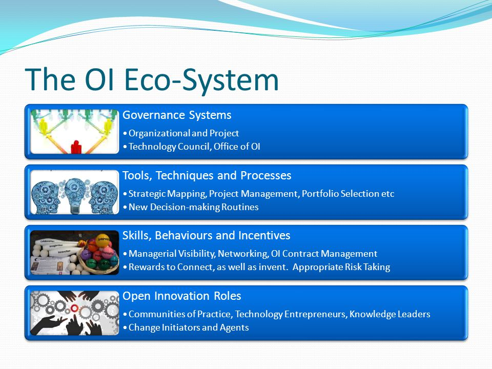 The OI Eco-System Governance Systems Organizational and Project Technology Council, Office of OI Tools, Techniques and Processes Strategic Mapping, Project Management, Portfolio Selection etc New Decision-making Routines Skills, Behaviours and Incentives Managerial Visibility, Networking, OI Contract Management Rewards to Connect, as well as invent.