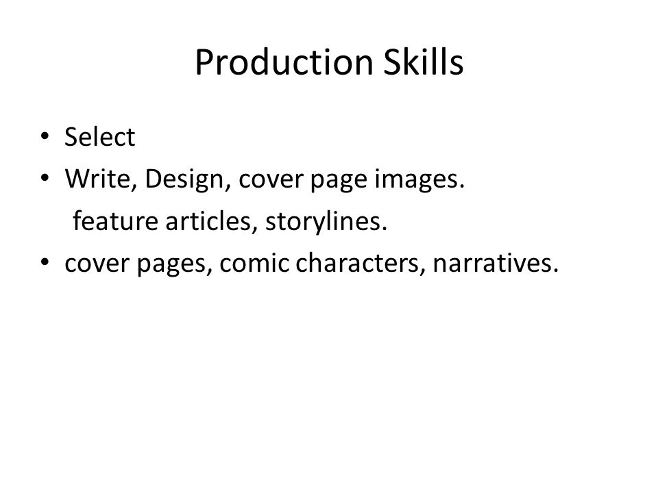 Production Skills Select Write, Design, cover page images.