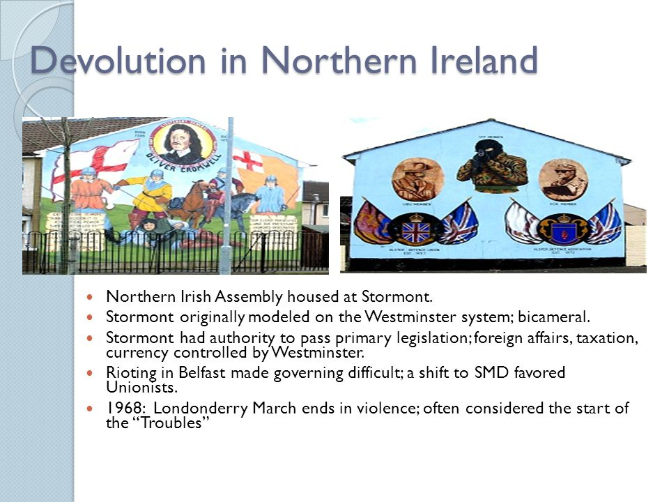 Devolution in Northern Ireland Northern Irish Assembly housed at Stormont.
