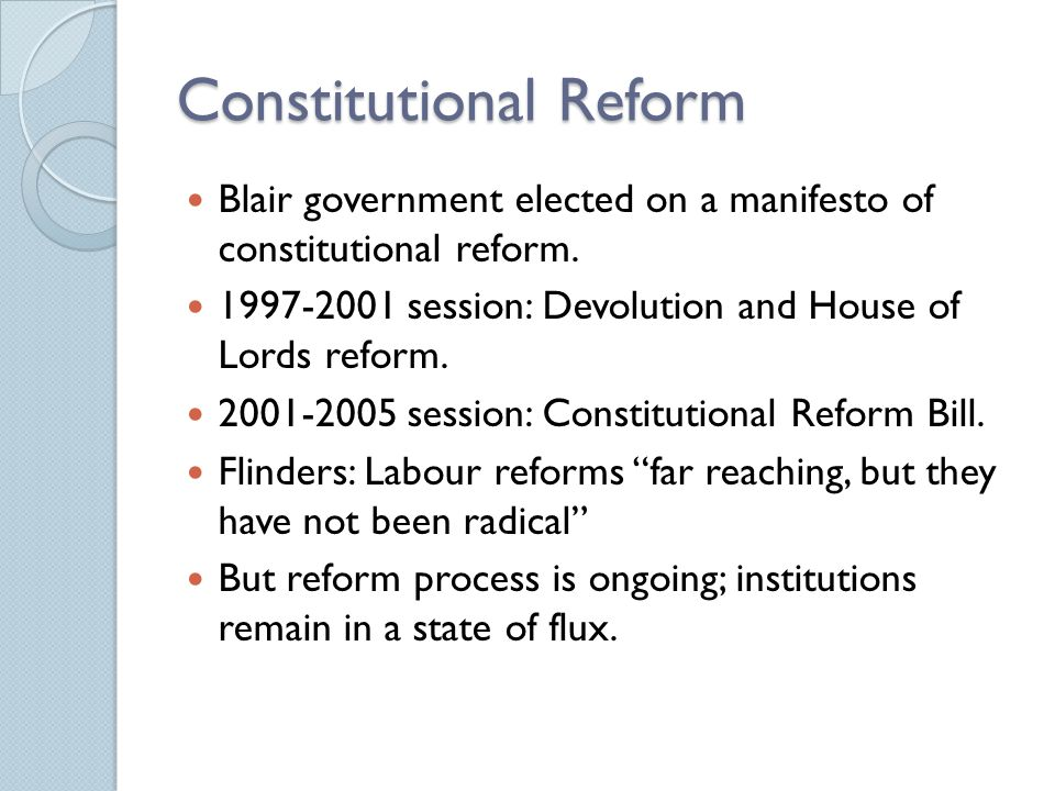 Blair and Reform Introduced over 20 bills after 1997 election.