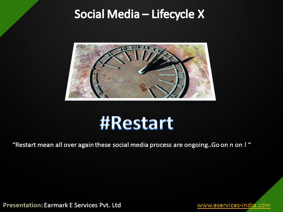 Restart mean all over again these social media process are ongoing..Go on n on .
