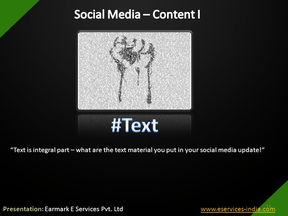 Text is integral part – what are the text material you put in your social media update! 14 Presentation: Earmark E Services Pvt.