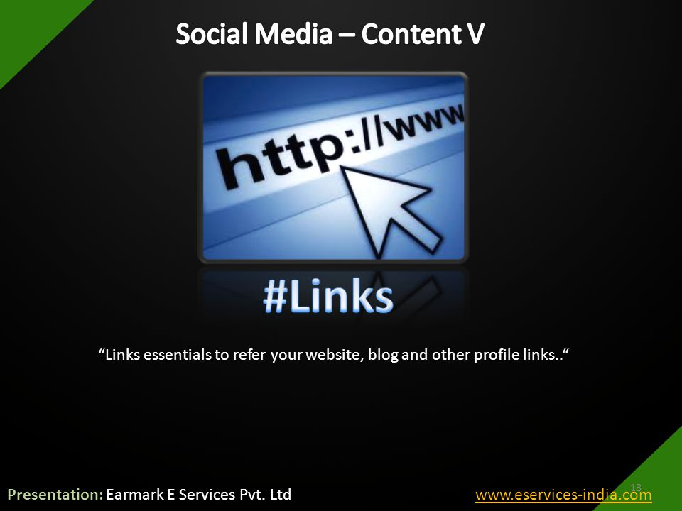Links essentials to refer your website, blog and other profile links.. 18 Presentation: Earmark E Services Pvt.