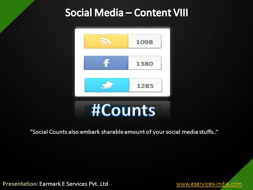 Social Counts also embark sharable amount of your social media stuffs.. 21 Presentation: Earmark E Services Pvt.
