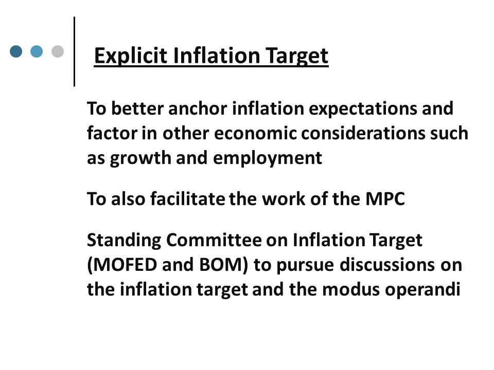 Explicit Inflation Target To better anchor inflation expectations and factor in other economic considerations such as growth and employment To also facilitate the work of the MPC Standing Committee on Inflation Target (MOFED and BOM) to pursue discussions on the inflation target and the modus operandi